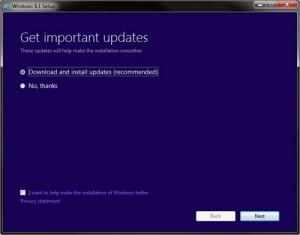 Windows 8.1 setup process