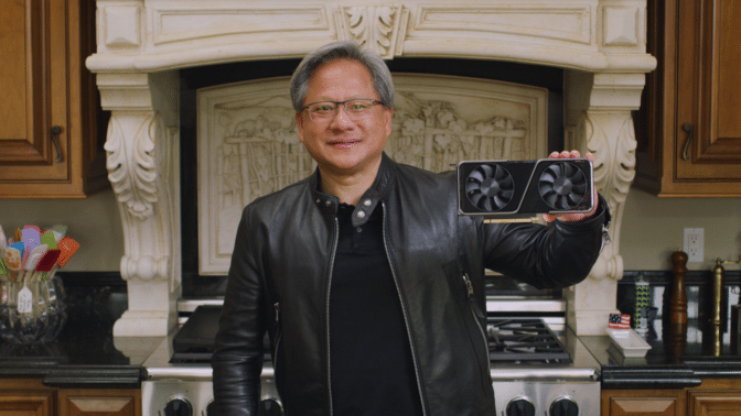 NVIDIA CEO Jensen Huang introducing the GeForce RTX 3070.