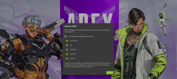 Apex Legends with NVIDIA Highlights on GeForce NOW